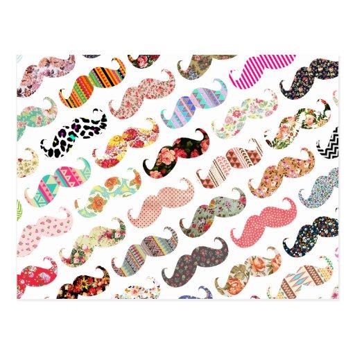 Lustige Girly bunte Muster-Schnurrbärte Postkarte