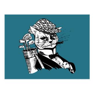 lustige Golf spielende Katze Postkarte