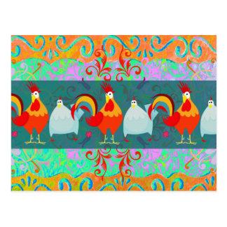 Lustige Hahn-Henne-flippige Huhn-Vieh-Geschenke Postkarte