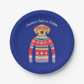 Lustige hässliche Weihnachtsstrickjacke, Pappteller