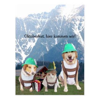 Lustige Haustiere Oktoberfest Postkarten