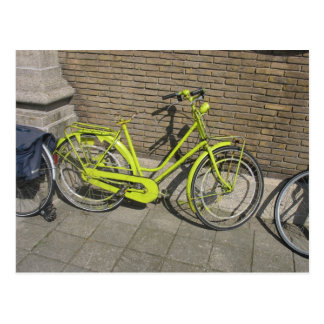 Lustige helle gelbe Fahrrad-Postkarte Postkarten