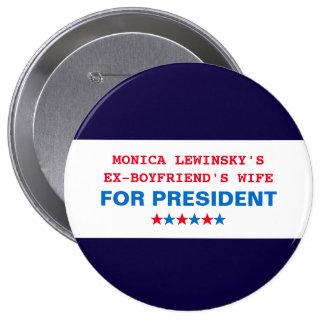 Lustige Hillary Clinton für Präsidenten 2016 Knopf Runder Button 10,2 Cm