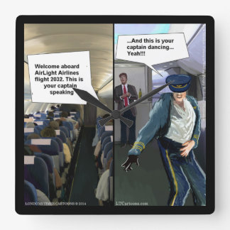 Lustige Hipster-Fluglinien-Pilotwand-Uhr Quadratische Wanduhr