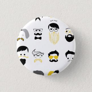 Lustige Hipster-Gesichter Runder Button 3,2 Cm