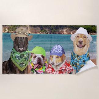 Lustige Hunde auf dem Strand-Badetuch Strandtuch