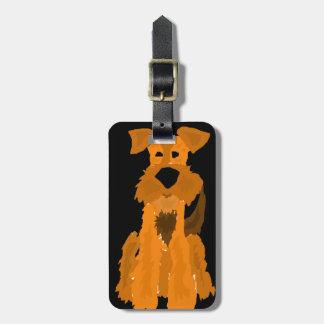 Lustige Hundekunst Airedales Terrier Gepäckanhänger