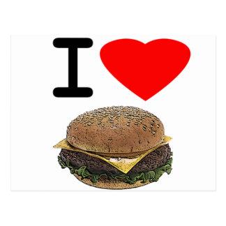 Lustige i-Liebe-Cheeseburger Postkarte