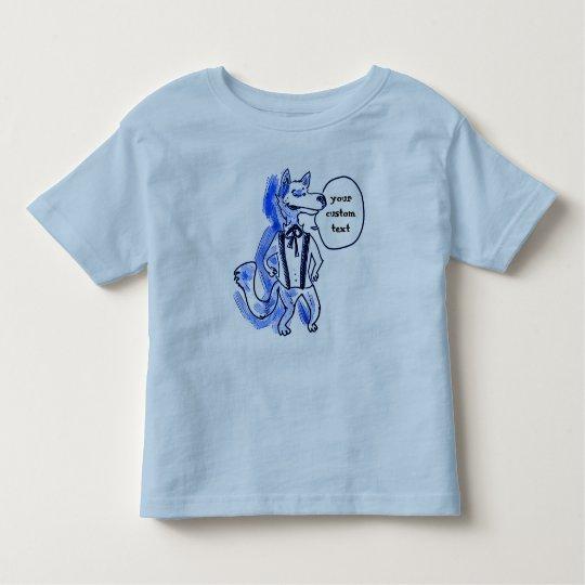 lustige Illustration der Herrwolf-Cartoon-Art Kleinkind T-shirt