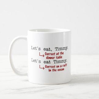 Lustige Interpunktions-Grammatik Kaffeetasse