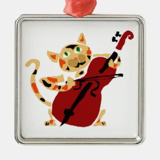 Lustige Kaliko-Katze, die Cello-Kunst-Cartoon Silbernes Ornament