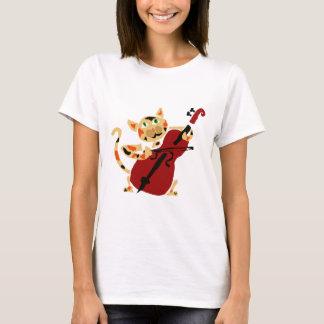 Lustige Kaliko-Katze, die Cello-Kunst-Cartoon T-Shirt