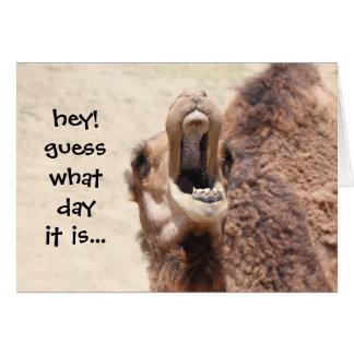Lustige Kamel-Buckel-Tagesruhestands-Karte Grußkarte