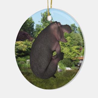 Lustige Kanonenkugelspringender Hippopotamus Keramik Ornament