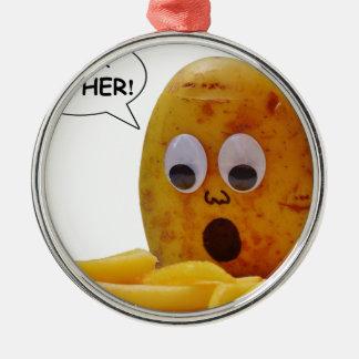Lustige Kartoffel-Mutter Silbernes Ornament