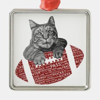 Lustige Katze amerikanischer Fußball der Silbernes Ornament