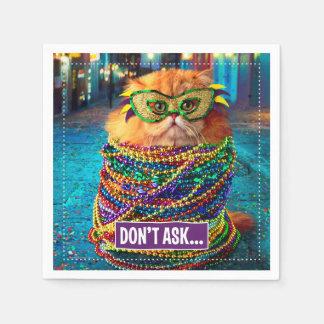 Lustige Katze mit bunten Perlen am Karneval Servietten