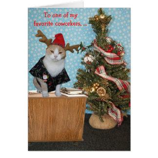 Lustige Katzen-Weihnachtskarte für Mitarbeiter Karte