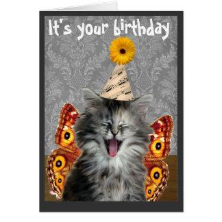 Lustige Katzengeburtstagskarte oder -einladung Karte