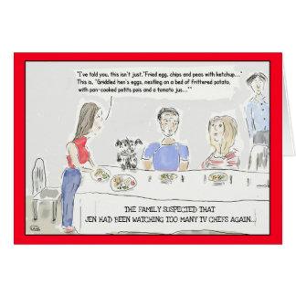 Lustige kochende Cartoon-Geburtstags-Gruß-Karte Karte
