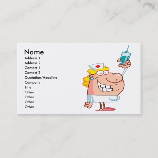 Lustige Krankenschwester Mit Einem Spritze Cartoon Visitenkarte