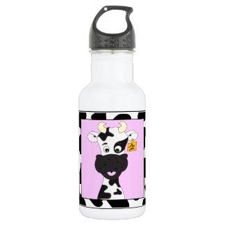 Lustige Kuh-Cartoonmädchen Edelstahlflasche