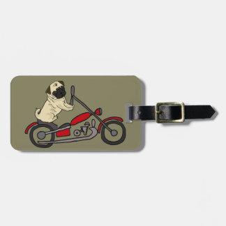 Lustige Mops-Hundereitmotorrad-Kunst Gepäckanhänger