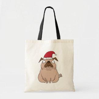 Lustige mürrische Sankt-Mops-WeihnachtsTasche Tragetasche
