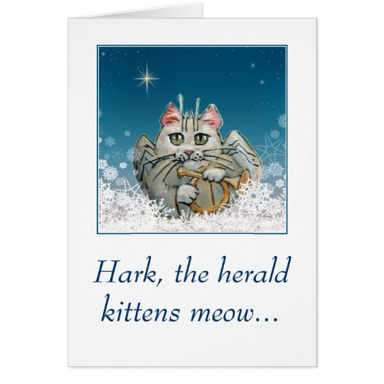 Lustige niedliche Katzenengel Weihnachtskarte Grußkarte