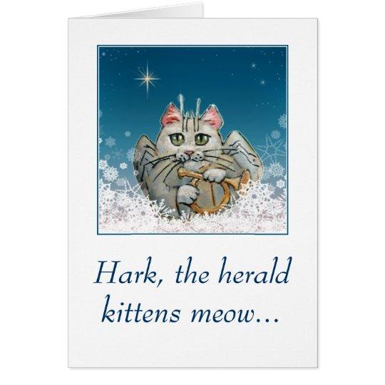 Lustige niedliche Katzenengel Weihnachtskarte Karte