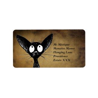 Lustige orientalische schwarze Katzen-Aufkleber Adressaufkleber
