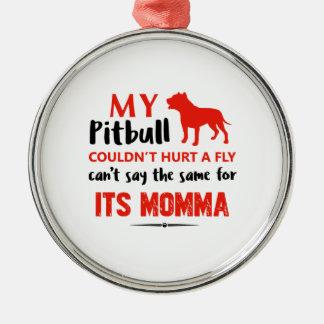 Lustige Pitbull-Mamaentwürfe Silbernes Ornament