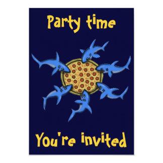 Lustige Pizza, die Haifisch-Party Einladungskarte