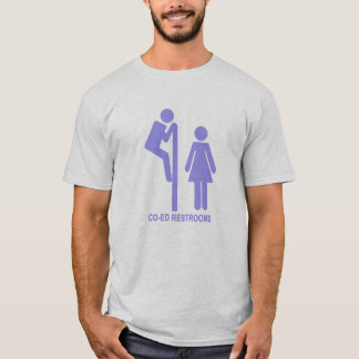 Lustige Restroom CO-ED stickfigures (blau) T-Shirt
