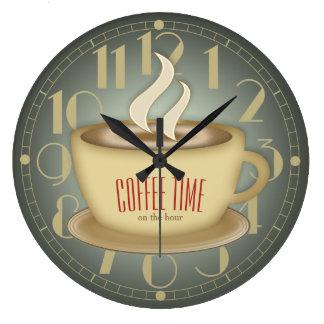 Lustige Retro Kaffee-Zeit-Gewohnheits-Farbe Große Wanduhr