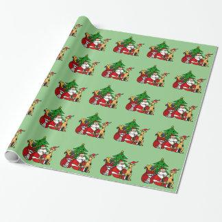 Lustige Sankt- und Hündchen-Weihnachtskunst Geschenkpapierrolle