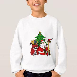 Lustige Sankt- und Hündchen-Weihnachtskunst Sweatshirt