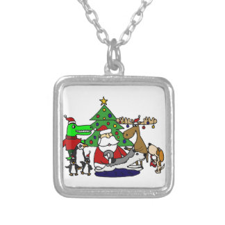 Lustige Sankt-Weihnachtskunst mit Elchen und Versilberte Kette