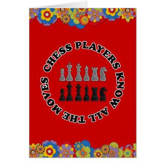 Lustige Schach-Spieler kennen alle Bewegungen Karte