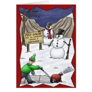 Lustige Schneemann-Protest-Schneekanone-Weihnachts Grußkarte
