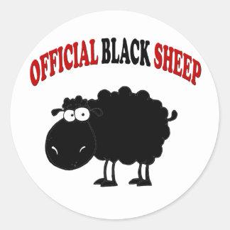 Lustige schwarze Schafe Runder Aufkleber