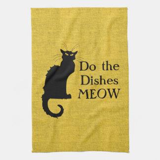 Lustige schwarze und gelbe Katzen-Hand oder Geschirrtuch