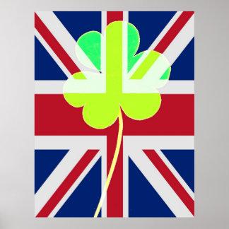 Lustige St- Patrickflaggen-britisches irisches Poster