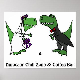 Lustige T-rex Dinosaurier-Braut und Bräutigam Poster
