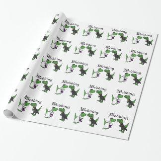 Lustige T-rex Dinosaurier-Braut-und Geschenkpapier