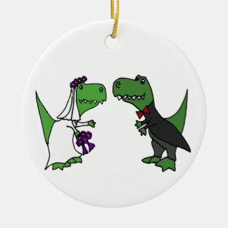 Lustige T-rex Dinosaurier-Braut-und Keramik Ornament