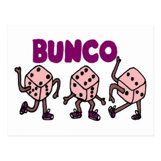 Lustige tanzende Bunco Würfel Postkarte