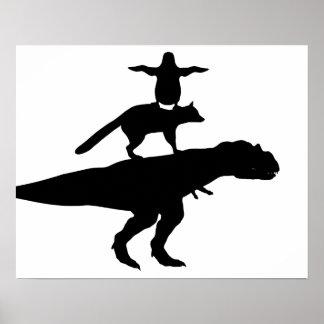 lustige Tierdinosaurierfuchs-Pinguinpyramide Poster
