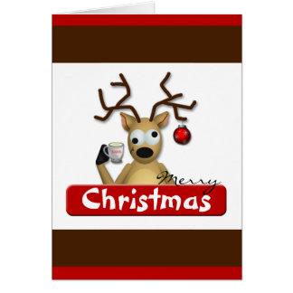 Lustige Tipsy Ren-Weihnachtsgruß-Karte Karte