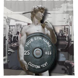 Lustige Turnhallen-Inhaber-Fitness David, der Duschvorhang